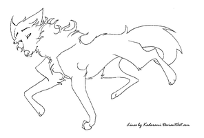 Free to use Wolf line-art by Ghulhund