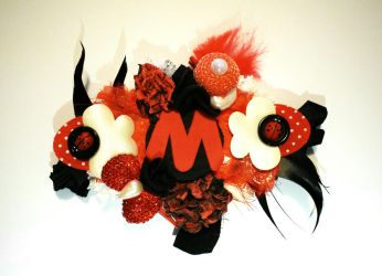 The Dark Fire ''M'' Initial Brooch by RibbonsandClay