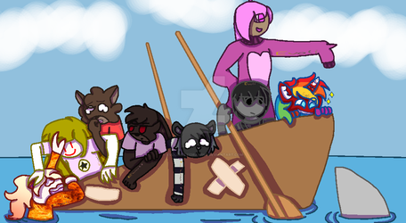 People on an sinking boat by EvoliGirl11Drawing
