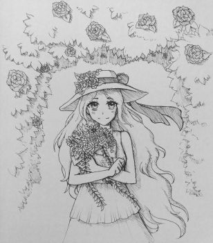 Inktober day 1: flowers by Linachi0