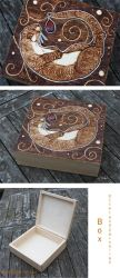 Pyrography Otter and Carnelian Box by BumbleBeeFairy