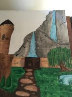 Castle landscape painting WIP 10 by j0wey