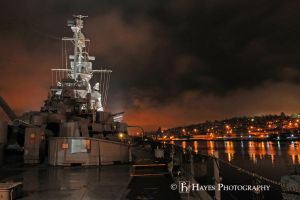 Battleship at Night by HayesPhoto