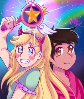 Star and Marco from Star vs force of evil by Alienart09