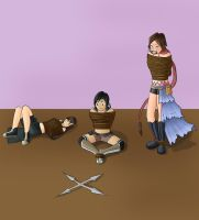 Tifa, Yuffie, and Yuna Tied Up by ThatBondageGirl