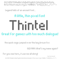 Thintel: A Little, Thin Pixel Font by skeddles