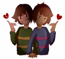 Frisk And Chara by BamSaraKilledYou