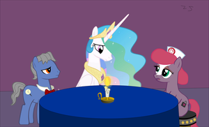 Celestia And Two Dungeon Doctor Ponies Discuss by Zacharygoblin55
