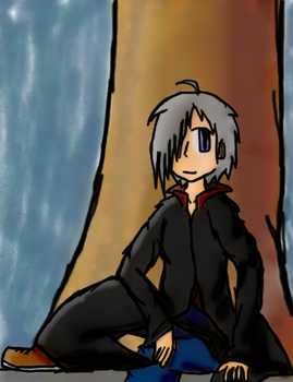 Andrew -Sitting By His Tree- by AnimeVSReality