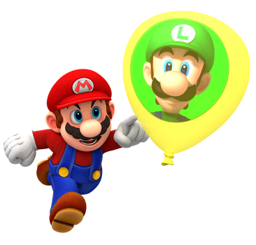 Mario Playing Luigi's Balloon World Render by Nintega-Dario