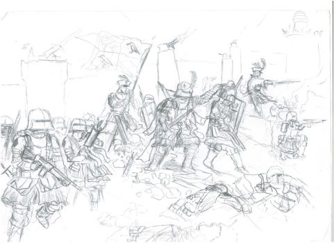 knights fight through rubble (modern-medieval) by YourLocalTechpriest
