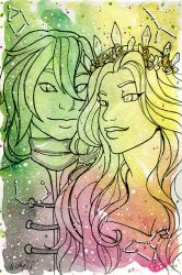 Galaxy Portrait Dias and Levana by nickyflamingo