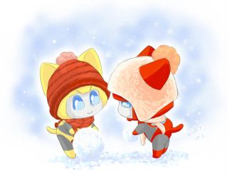 kitties in a snowy day by umitaro