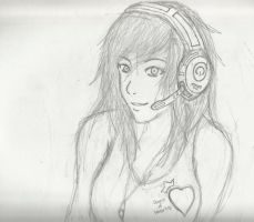 Headphones Girl by Demon-Shinob1
