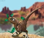 Velociraptor Baby Mobbed by Pretty Butterflies by Psithyrus