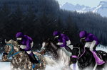 Crossbreds Racing On The Snow by angry-horse-for-life