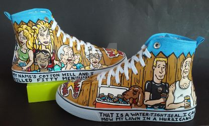 Custom Handpainted King of the Hill shoes by rachelliles352