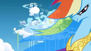 Rainbow Dash Cloudsdale Wallpaper by RDbrony16