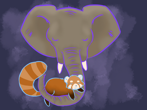 red panda with elephant by littletindog