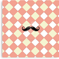 Checked and Mustache canvas Print by PhotoshopGirl29
