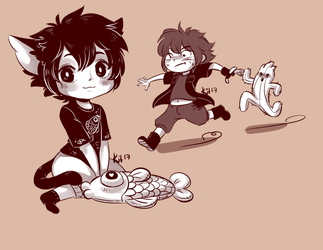 FFXV - CatNoct, Noct and Cactuar Ignis by TwainKitty