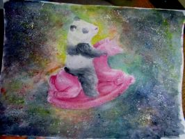 panda and rocking unicorn in space by minihumanoid
