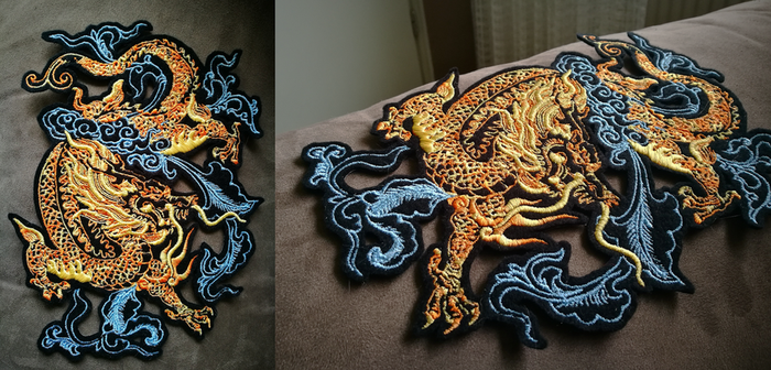 Golden blue Chinese dragon ~ XL embroidered patch by CyanFox3