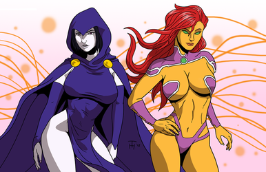Raven and Starfire by Taynor-Hook