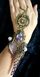 Steampunk slave bracelet Wings and roses by Cyanida