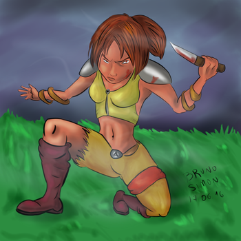 Female Thief/Fighter in Fortress by brusife