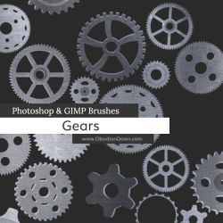 Gears Vectors Photoshop and GIMP Brushes by redheadstock