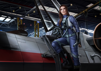 Flight Officer Rianni Losator, starfighter pilot by Shoguneagle