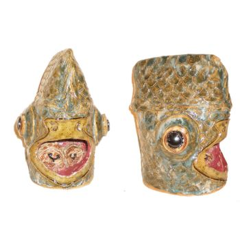 Fish Head With Tongue-Stealing Lice by aberrantceramics