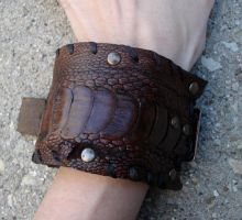 Ostrich hide buckle cuff by missmonster
