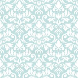 Flourish Damask Ptn White on Lt Teal by NatPaskell