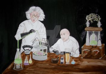 Mad scientist and assistant experimenting by Amalias-dream