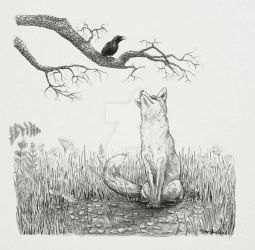 The Fox and The Crow by hayleymerrington