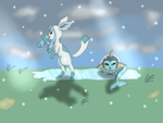 Glaceon And Vaporeon Play by kresa-ne