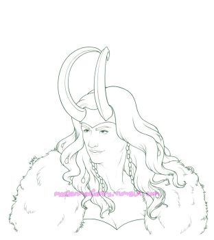 Lady Loki - Lineart by MerianMoriarty