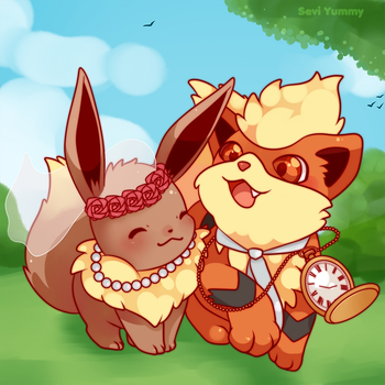COMMISSION: Eevee and Growlithe by SeviYummy