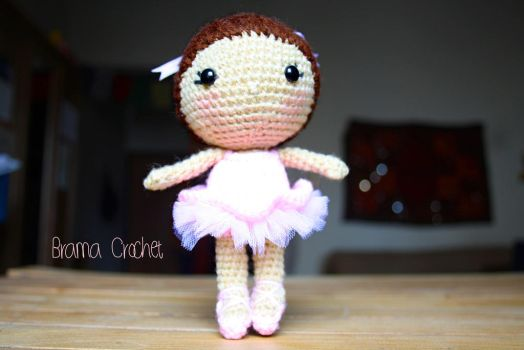 Ballerina Kawaii Amigurumi crochet doll by BramaCrochet