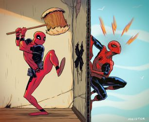 Spidey v Deadpool by MeisterMash