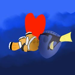 Marlin and Dory Kissing by DoraeArtDreams-Aspy