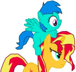 Sunset Shimmer carrying Bluebell by danparkerstudios