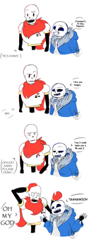 Comic of Sans.. and Papyrus by BlueSideArts