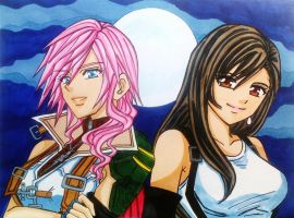 Lightning Farron and Tifa Lockhart by dagga19