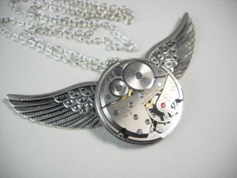Steampunk Angel Necklace by Nite0wlStudios