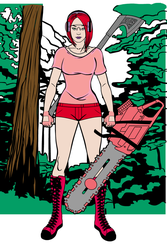 Punk Girl Logger Red Pink by Usaporkchops