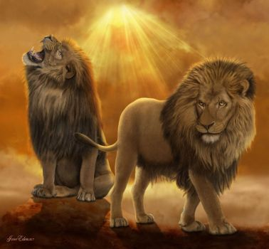 !Lions-At-the-top-of-their-Kingdom by JaneEden