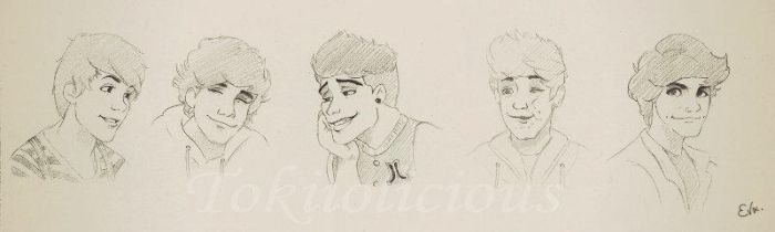 One Direction Sketches (all 5) by Tokiiolicious